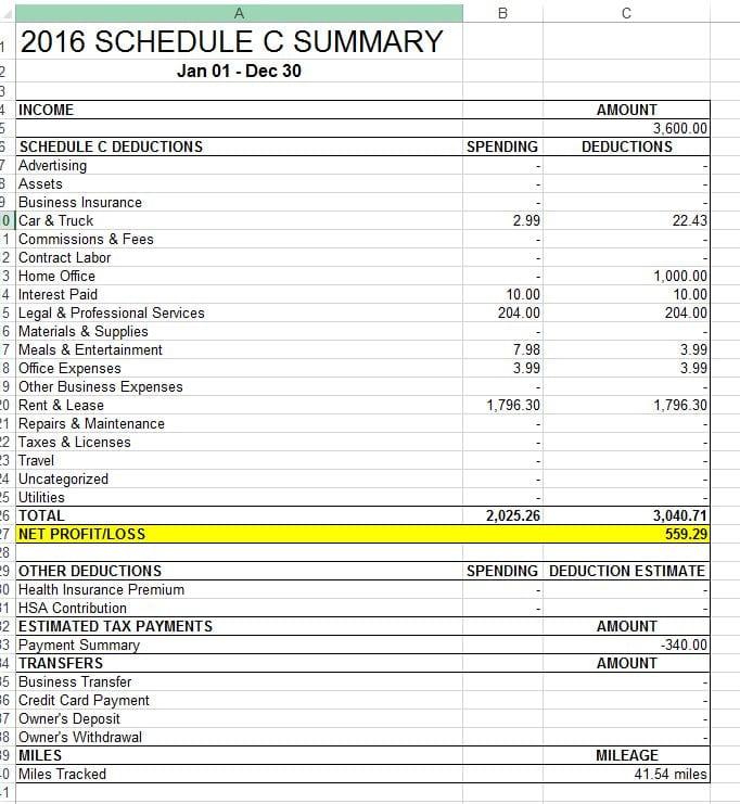 schedule c excel template